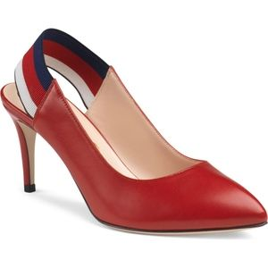 GUCCI Sylvie Slingback Pump Red Leather Shoes